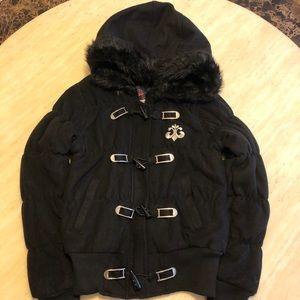 New Dereno Crystal Logo Winter Jacket/Coat Black S